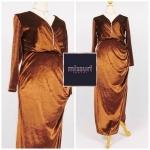 ชุดราตรีกำมะหยี่ไปงานแต่งงาน สีน้ำตาล-ทอง (maxi dress) คอวี แขนยาว ทรงเข้ารูป เซ็กซี่