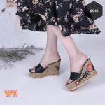 รองเท้าแฟชั่น แบบสวม ส้นเตารีด แต่งลายดอกไม้ปักที่ส้นสวยหวานสไตล์แบรนด์ ส้นสูงประมาณ 5 นิ้ว เสริมหน้า ใส่สบาย แมทสวยได้ทุกชุด (MK146)