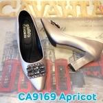รองเท้าคัทชู ส้นสูง แต่งอะไหล่เพชรด้านหน้าสวยหรู ดีไซน์ส้นเหลี่ยมเก๋ๆ หนังนิ่ม ทรงสวย ส้นสูงประมาณ 4 นิ้ว แมทสวยได้ทุกชุด (CA9169)