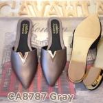 รองเท้าคัทชู เปิดส้น แต่งอะไหล่ V ด้านหน้าสวยเก๋ ทรงสวย หนังนิ่มใส่สบาย แมทสวยได้ทุกชุด (CA8787)