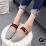 รองเท้าคัทชู เปิดส้น แต่งคาดแถบสีสไตลกุชชี่สวยเก๋ ใส่สบาย แมทสวยได้ทุกชุด (2015-73)