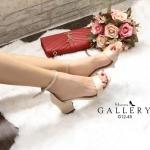 รองเท้าแฟชั่น แบบสวม รัดข้อ ทรงสวยเรียบหรู ใส่สบาย ส้นตัดสูงประมาณ 2.5 นิ้ว แมทสวยได้ทุกชุด (G12-45)