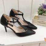 รองเท้าคัทชู ส้นสูง รัดส้น ดีไซน์คาดด้านหน้าสวยเก๋ หนังนิ่ม ทรงสวยดูเท้าเรียว ส้นสูงประมาณ 3 นิ้ว ใส่สบาย แมทสวยได้ทุกชุด (K2960)