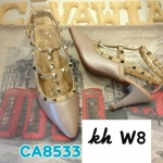 รองเท้าคัทชู ส้นสูง รัดข้อ แต่งหมุดสไตล์วาเลนติโน ทรงสวยเพรียว ส้นสูงประมาณ 3 นิ้ว แมทสวยได้ทุกชุด (CA8533)