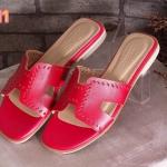 รองเท้าแตะแฟชั่น แบบสวม หน้า H สไตล์แอร์เมส หนังฉลุขอบสวยเก๋ หนังนิ่ม ทรงสวย ใส่สบาย แมทสวยได้ทุกชุด