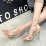 รองเท้าแฟชั่น ส้นสูง แบบสวม รัดส้น คาดหน้าพลาสิตใสนิ่ม ส้นใสอินเทรนด์ สวยเก๋ ใส่สบาย รัดส้นเพิ่มความกระชับ ส้นสูงประมาณ 4 นิ้ว ทรงสวย แมทสวยได้ทุกชุด (816-1)