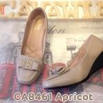 รองเท้าคัทชู ส้นเตารีด แต่งอะไหล่โบว์ด้านหน้าเรียบหรูดูดี พื้นนิ่ม ใส่สบาย แมทสวยได้ทุกชุด (CA8461)