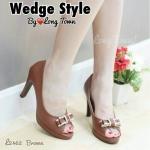 รองเท้าคัทชู ส้นสูง เปิดนิ้ว แต่งโบว์หน้าสวยหรู ส้นสูงประมาณ 3.5 นิ้ว เสริมหน้าเล็กน้อย ใส่สบาย แมทสวยได้ทุกชุด (L2462)