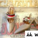รองเท้าคัทชู ส้นเตี้ย รัดส้น แต่งแถบสีสวยเก๋สไตล์แบรนด์ ส้นประมาณ 2.5 นิ้ว หนังนิ่ม ใส่สบาย ทรงสวย แมทสวยได้ทุกชุด (CA9158)