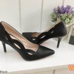รองเท้าคัทชู ส้นสูง ทรงหัวแหลม แต่งลายด้านข้างสวยเก๋ หนังนิ่ม ทรงสวย ดูเท้าเรียบ ส้นสูงประมาณ 3.5 นิ้ว แมทสวยได้ทุกชุด (K2959)