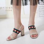 รองเท้าแฟชั่น แบบสวม ส้นสูง รัดส้น คาดหน้าแต่งแถบสีประดับมุกสไตล์กุชชี่สวยเก๋ ทรงสวย ส้นตัดสูงประมาณ 2.5 นิ้ว ใส่สบาย แมทสวยได้ทุกชุด (9123-6)