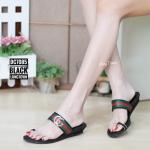 รองเท้าแฟชั่น สไตล์ลำลอง แบบสวมนิ้วโป้ง แต่งลายคาดแถบสีสไตล์กุชชี่สวยเก๋ ใส่สบาย แมทสวยได้ทุกชุด (DC7085)