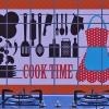 """สติ๊กเกอร์ติดครัวกันน้ำมันกระเด็น """"Cook Time"""" ขนาด 60 cm x 90 cm"""