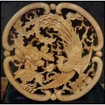 แผ่นไม้แกะสลักศิลปะจีน-หงส์กับดอกโบตั๋น 26.5 cm.