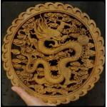 แผ่นไม้แกะสลักศิลปะจีน- มังกรเดี่ยว 26.5 cm.
