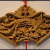 ไม้แกะสลักศิลปะจีน-หงส์กับดอกโบตั๋น 28 cm.
