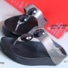 รองเท้าแตะเพื่อสุขภาพ แบบคีบ ประดับเม็ดคริสตัล [สีเทา ]