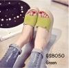 พร้อมส่ง รองเท้าส้นเตารีด ทรงสวม คาดหน้าผ้าสักหราด แฟชั่นเกาหลี [สีเขียว ]