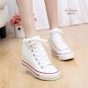 พร้อมส่ง รองเท้าผ้าใบหุ้มข้อสีขาว สริมส้น ผ้าแคนวาส แฟชั่นเกาหลี [สีขาว ]