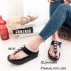 พร้อมส่ง รองเท้าแตะเพื่อสุขภาพ แบบคีบ พื้นSoft Comfort แฟชั่นเกาหลี [สีดำ ]