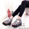 พร้อมส่ง รองเท้าส้นเตารีดรัดส้นสีเทา หนังกลับ ดีไซน์หนังสาน แฟชั่นเกาหลี [สีเทา ]