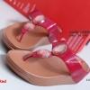 รองเท้าแตะเพื่อสุขภาพ แบบคีบ ประดับเม็ดคริสตัล [สีแดง ]