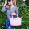 กระเป๋าสะพายแฟชั่น กระเป๋าสะพายข้างผู้หญิง ลองชอมหนัง Style [สีชมพู]