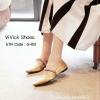 พร้อมส่ง รองเท้าคัทชูส้นเตี้ยหัวแหลมสีทอง ผ้าซาติน งาน miu miu แฟชั่นเกาหลี [สีทอง ]