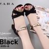 พร้อมส่ง รองเท้าส้นตันรัดข้อสีดำ หนังกลับ แต่งสายรัดเมทัลลิค แฟชั่นเกาหลี [สีดำ ]