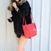 กระเป๋าสะพายแฟชั่น กระเป๋าสะพายข้างผู้หญิง กระเป๋าสะพายข้าง ซิปข้าง [สีแดง]