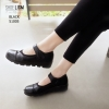 รองเท้าคัทชูผู้หญิง หนังนิ่ม ขอบยางยืดกันกัด สายรัดเมจิกเทป [สีดำ ]