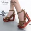 พร้อมส่ง รองเท้าส้นตึกรัดส้นสีน้ำตาล สายคาดไขว้ ส้นไม้ Korean Style Platform แฟชั่นเกาหลี [สีน้ำตาล ]