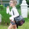 กระเป๋าเป้ผู้หญิง กระเป๋าสะพายข้างแฟชั่น ปักลายวินเทจ สะพายข้างหรือสพายหลังก็ได้ [สีดำ ]