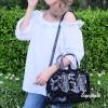 กระเป๋าสะพายแฟชั่น กระเป๋าสะพายข้างผู้หญิง Robot Nologo เนื้อเงา [สีดำ]