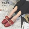 พร้อมส่ง รองเท้าส้นเตี้ยสีแดง แต่งหัวเข็มขัด แฟชั่นฮิตมากในเกาหลี แฟชั่นเกาหลี [สีแดง ]