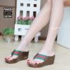 รองเท้าแตะส้นเตารีด แบบคีบ สไตล์ลำลอง พื้นนิ่มเวอร์ [สีน้ำตาล ]