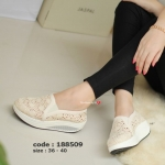 รองเท้าผ้าใบผ้าลูกไม้ Fitness Vintage Soft [สีแอปริคอท ]