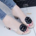 รองเท้าส้นตันเปิดส้น CN CamilliaSandals Style [สีครีม ]