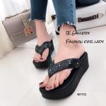 พร้อมส่ง รองเท้าแตะผู้หญิงสีดำ แบบคีบ BAOBAO Issey Miyake แฟชั่นเกาหลี [สีดำ ]
