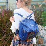 กระเป๋าเป้ผู้หญิง กระเป๋าสะพายข้างแฟชั่น ปักลายวินเทจ สะพายข้างหรือสพายหลังก็ได้ [สีน้ำเงิน ]