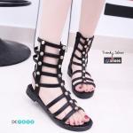 พร้อมส่ง รองเท้าแตะส้นเตี้ยสีดำ หนังนิ่ม สไตล์ Gladiater Sandals แฟชั่นเกาหลี [สีดำ ]