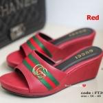 รองเท้าส้นเตารีดเปิดส้น GC Wedged Shoes [สีแดง ]