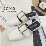 พร้อมส่ง รองเท้าส้นเตี้ยสีขาว แต่งหัวเข็มขัด แฟชั่นฮิตมากในเกาหลี แฟชั่นเกาหลี [สีขาว ]
