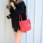 กระเป๋าสะพายแฟชั่น กระเป๋าสะพายข้างผู้หญิง ซิปข้าง สุดชิค [สีแดง]