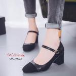 พร้อมส่ง รองเท้าคัทชูส้นตันรัดข้อสีดำ หัวตัด ผ้าสักหราด แฟชั่นเกาหลี [สีดำ ]