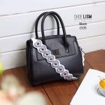 กระเป๋าสะพายแฟชั่น กระเป๋าสะพายข้างผู้หญิง สายคาดเป็นลายหัวใจมุ้งมิ้ง [สีดำ ]