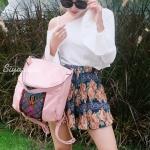 กระเป๋าเป้ผู้หญิง กระเป๋าสะพายข้างแฟชั่น ปักลายวินเทจ สะพายข้างหรือสพายหลังก็ได้ [สีชมพู ]