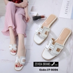 พร้อมส่ง รองเท้าแตะผู้หญิงสีขาว แบบสวม สายหนังเจาะ แฟชั่นเกาหลี [สีขาว ]