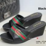 รองเท้าส้นเตารีดเปิดส้น GC Wedged Shoes [สีดำ ]