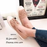 พร้อมส่ง รองเท้าผ้าใบผู้หญิงสีกากี พียูนิ่ม แต่งอะไหล่ดอกไม้ตอก แฟชั่นเกาหลี [สีกากี ]